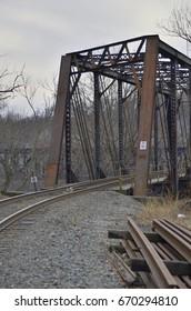 Railroad tracks on trestle over Delaware River
