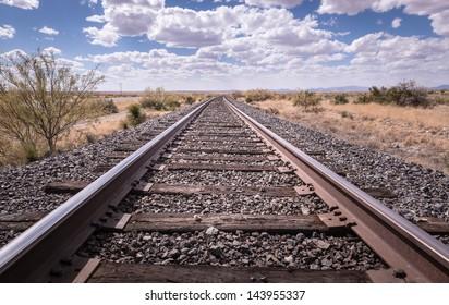 Railroad tracks outside of Marfa, Texas.