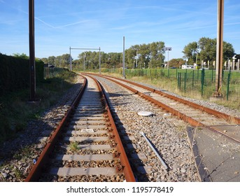Railroad tracks, part of the Hoekse Lijn trajectory, South Holland province, the Netherlands. The trajectory is being converted from regular rail to a metro.