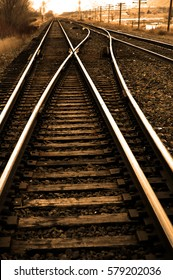 Railroad tracks with rails for train for transport