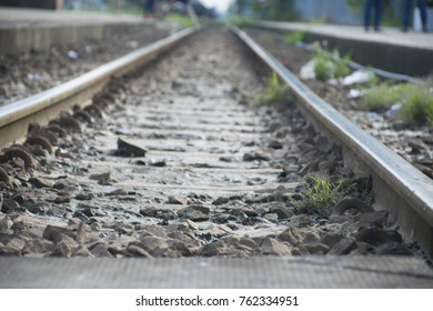 Railroad tracks and rocks