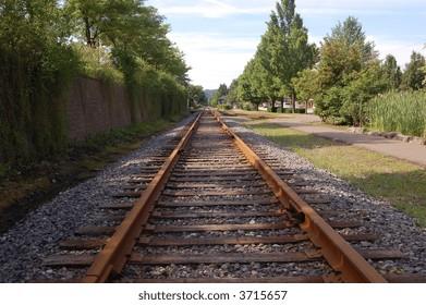 Railroad tracks run through downtown Oakmont, Pennsylvania