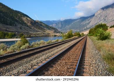 Railroad Tracks in Spences Bridge, British Columbia, Canada