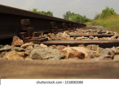 Railroad tracks, stones and steel