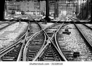 Railroad tracks in a switch yard