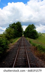 railroad tracks through nature