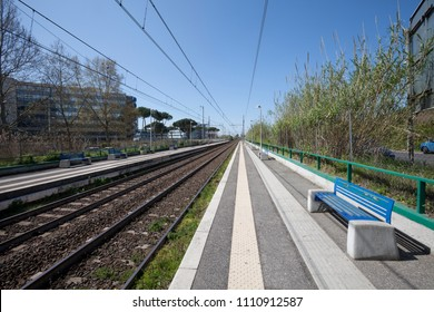 Railroad tracks train. Two tracks for train transportation in Italy.