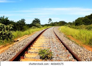 Railroad train line, Goiás, Brazil