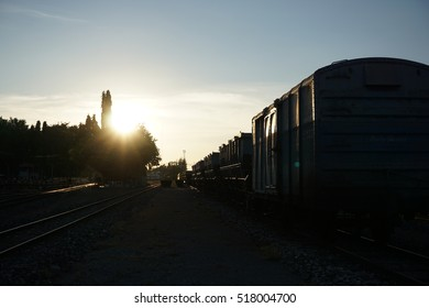 Railroad train sunset time