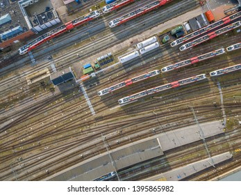 Railroad yard at station district aerial in Netherlands