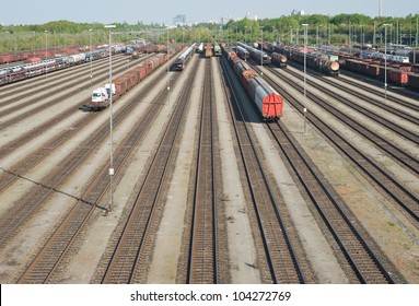 Railroad Yard Terminal with New Automobiles for Export
