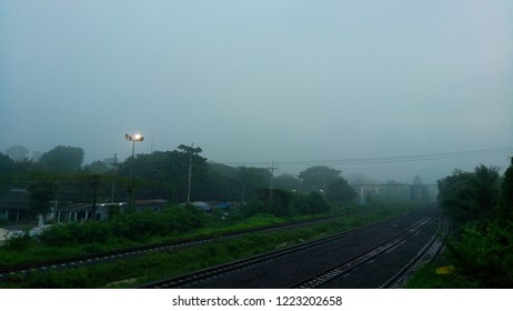 The railroads with the fog in the dark at morning background texture