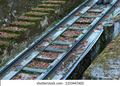 rails, sleepers cable for the funicular close-up
