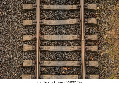 Rails and sleepers close up