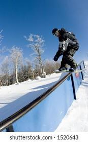 A railslide at Mont Tremblant Quebec.