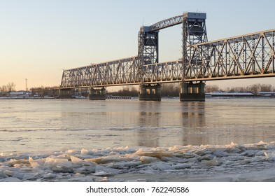 Railway and automobile bridge across the river Northern Dvina. Russia, Arkhangelsk