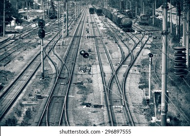 Railway in black and white colors