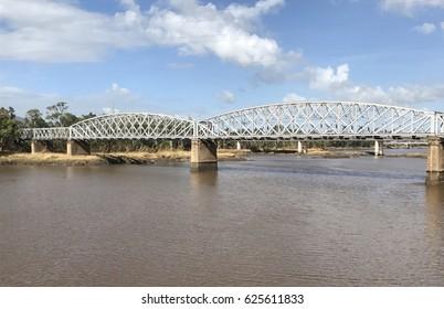 Railway bridge across the Fitzroy River, Rockhampton Queensland Australia.