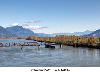 railway bridge across Fraser River between Mission and Abbotsford, BC, Canada