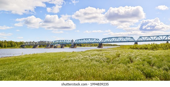 Railway bridge between Finland and Sweden across the Torne river, photographed on the Swedish side in the city of Haparanda.