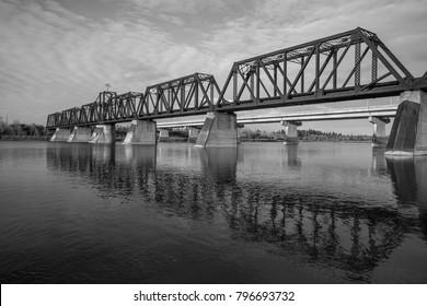 Railway bridge - circa 1900s over the North Saskatchewan River. Still in use - Prince Albert, Saskatchewan Canada