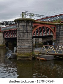 Railway Bridge crossing the river Clyde in Glasgow, Scotland