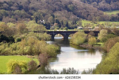 Railway bridge crossing the River Thames in England near Goring and Streatley