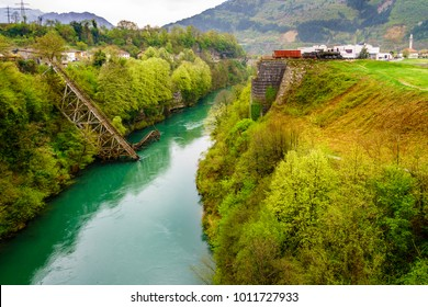Railway bridge destroyed during Second World War in Jablanica, Bosnia and Herzegovina