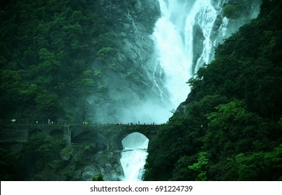 The railway bridge at Dudhsagar Waterfalls