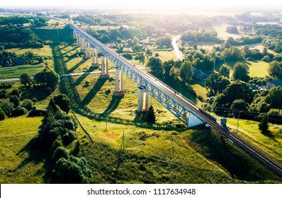 Railway Bridge of Lyduvenai, Lithuania. Longest and highest bridge in Lithuania.