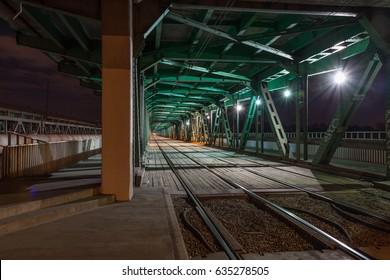 Railway bridge in the night