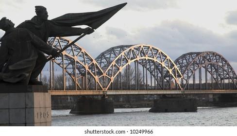 Railway Bridge Over The Daugava River, Riga, Latvia