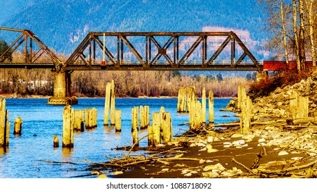 Railway Bridge over the Fraser River between the towns of Abbotsford and Mission in British Columbia, Canada