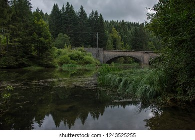 Railway bridge over river Doubs an forest reflection on the water surface near Mouthe, France