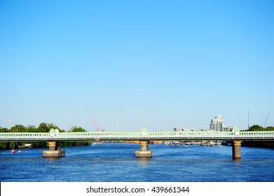 Railway bridge over the river Thames in Putney, London, England, UK