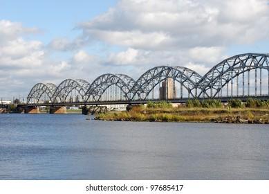 Railway bridge in Riga, Latvia