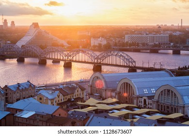 Railway Bridge in Riga at sunset. Riga, Latvia
