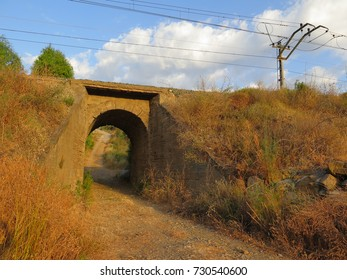 Railway bridge underpass leading into lemon grove in Andalusian countryside