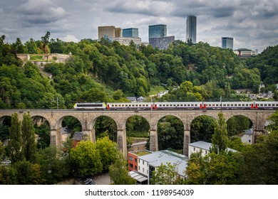 Railway bridge view of the city of Luxembourg
