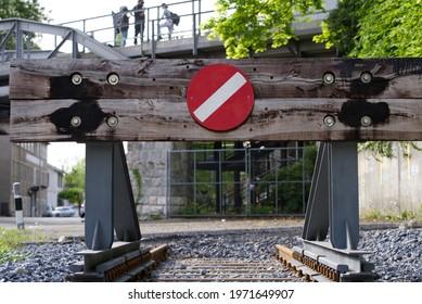 Railway buffer stop at City of Zurich. Photo taken May 10th, 2021, Zurich, Switzerland.