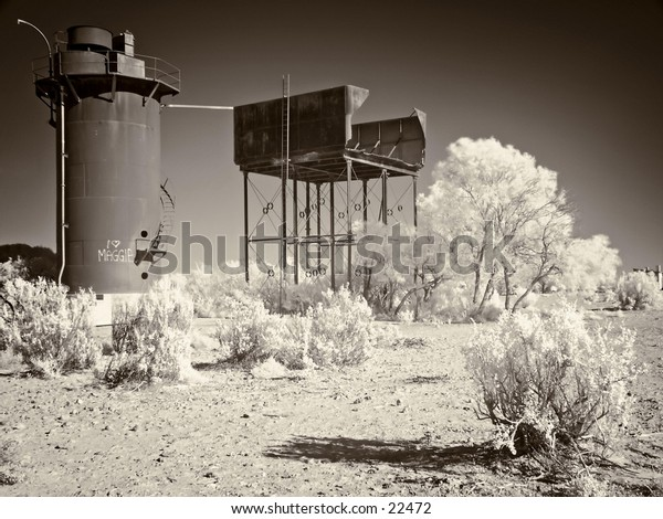 Railway buildings at Beresford Siding, Old Ghan railway, Oodnadatta Track, Outback Australia.
