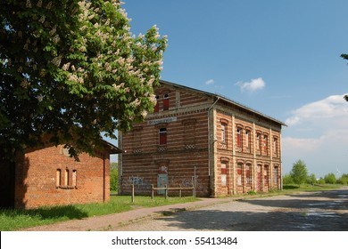 Railway buildings on Gross-Ammensleben station, Saxony-Anhalt, Germany