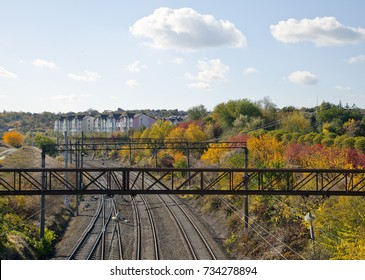 railway in the city in autumn