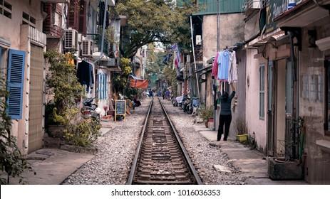 railway in the city, Hanoi