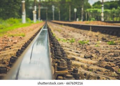 The railway close-up. Rails Road