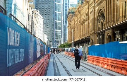 Railway Construction on Queen Victoria building side is opened for predestines to use 12-12-2017 Sydney-Australia