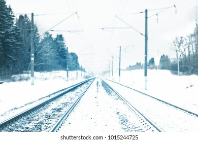 Railway covered with snow. Railroad snow goes away. The background is blurred. Along the road the pine forest.