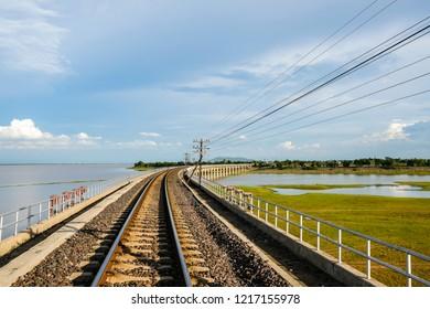 Railway crossing Pasak Chonlasit Dam, Lopburi, Thailand