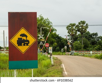 A Railway Crossing Signal in Udonthani, Thailand.