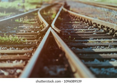 Railway crossroads. Choosing the right pathy, making decision, having doubts, choice way concept. Shallow depth of field.
